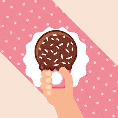 ice scream hand holding small one of chocolate with sparks vector illustration