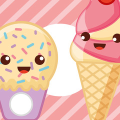 ices scream kawaii cute cones small passion fruit sparks strawberry vector illustration