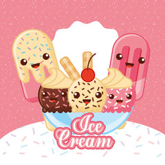 ices scream kawaii table with cup popsicle cone many flavors sparks cream sticks vector illustration