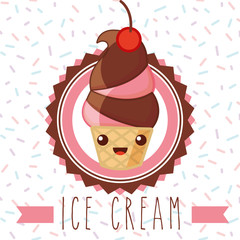ices scream kawaii  label delicious cone cherry strawberry with chocolate vector illustration