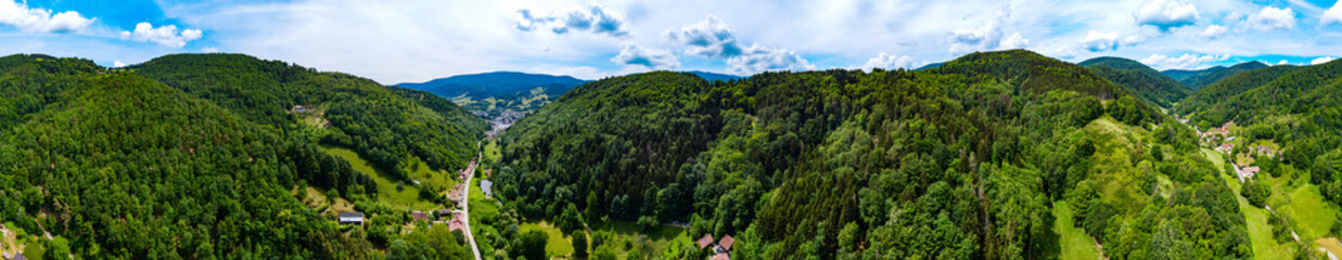 Wide aerial high resolution panoramic view of Vosges mountains, Alsace