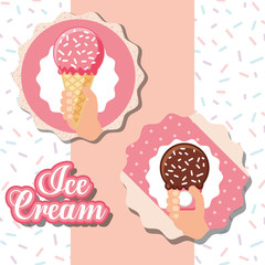 ices scream labels pink striped hands holding cones chocolate strawberry sparks vector illustration