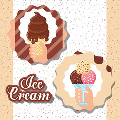 ices scream labels hands holding cup many different flavors chocolate melted vector illustration