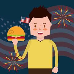 man holding burger fireworks flag american independence day vector illustration