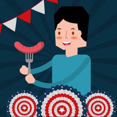 man with sausage in fork american independence day vector illustration