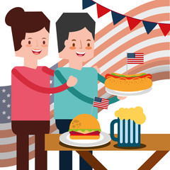 couple with hotdog burger in picnic flag american independence day vector illustration