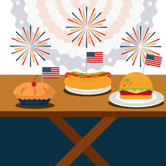 fast food cake burger and hot dog american independence day vector illustration
