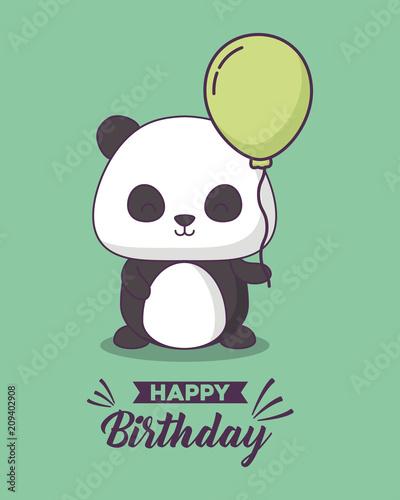 Birthday Card With Cute Bear Panda Kawaii Character Vector