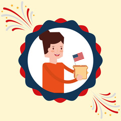 woman and sandwich with flag american independence label decoration vector illustration