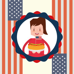 woman holding hot dog with flag american independence label decoration vector illustration