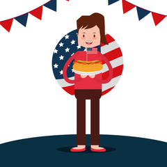 woman hot dog with flag american independence day vector illustration