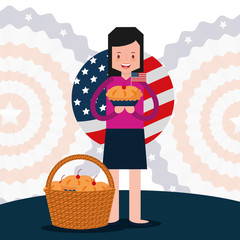 woman holds cake and wicker basket american independence day vector illustration