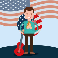 man holds guitar and sandwich in celebration american independence day vector illustration