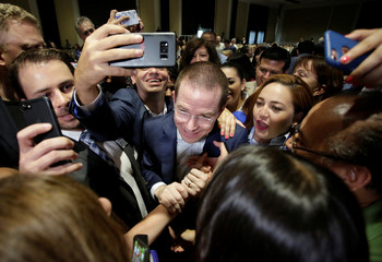 Ricardo Anaya, presidential candidate for the National Action Party (PAN), and who heads a right-left coalition,  meets with supporters in Monterrey