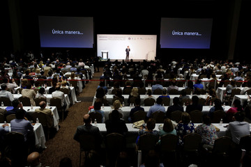 Ricardo Anaya, presidential candidate for the PAN addresses the audience during a meeting with business people in Monterrey