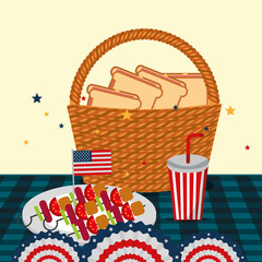 food american independence day table with dish kebabs soda basket with sandwiches pennants vector illustration