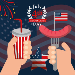 food american independence day july celebrate hands holding soda fork sausage vector illustration