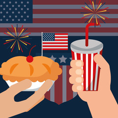 food american independence day usa flag background hands holding traditional cherry pie soda vector illustration