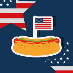 food american independence day stars usa flag hotdog vector illustration