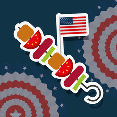 food american independence day pennants kebab with usa flag vector illustration