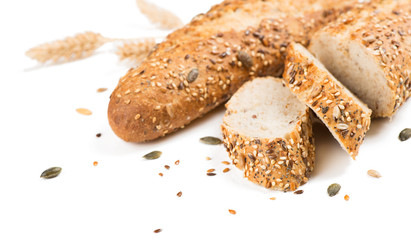 Whole grain baguette and slices.
