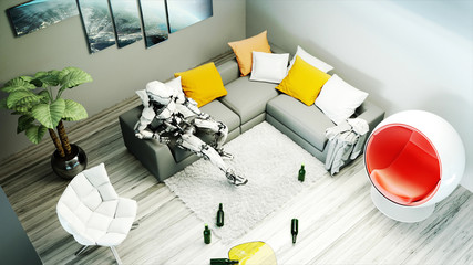 Robot sit on sofa. Relax. Concept of future. 3d rendering.