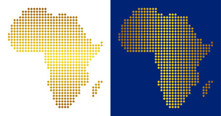Golden dotted Africa map. Vector territorial maps in shine colors with vertical and horizontal gradients. Abstract concept of Africa map created of rhombus items.