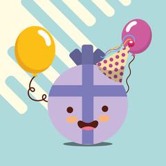 kawaii round gift present ribbon balloons happy birthday card vector illustration