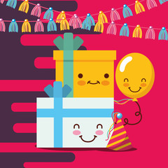 kawaii gift boxes balloon and hat party pennants happy birthday card vector illustration