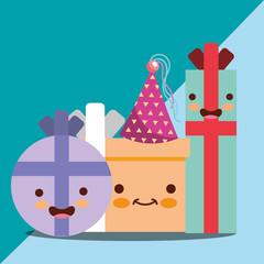 kawaii happy gift boxes cartoon characters happy birthday card vector illustration