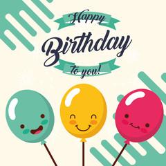 kawaii balloons in stick celebration happy birthday card vector illustration