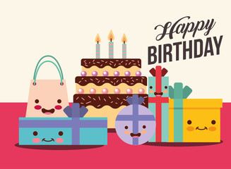 set of kawaii gift boxes and cake cartoon happy birthday card vector illustration