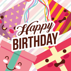 kawaii gift boxes and party hats cartoon happy birthday card vector illustration