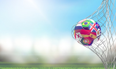 Russia Germany and others soccer goal soccer football 3d rendering