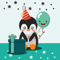cute penguin and kawaii balloon gift box happy birthday vector illustration