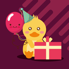 gift box kawaii balloon cute duck with party hat happy birthday vector illustration