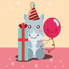 gift box kawaii balloon cute hippo and party hat happy birthday vector illustration