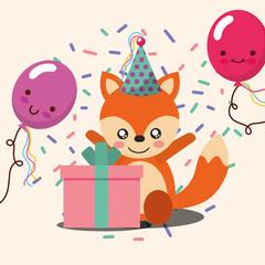 gift box kawaii balloons cute fox party hat confetti happy birthday vector illustration