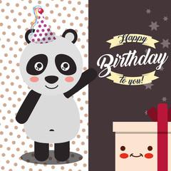 little panda greeting gift box cartoon celebration happy birthday vector illustration