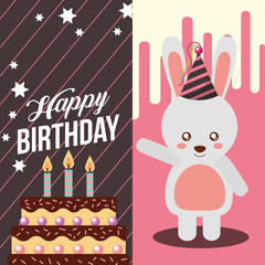 little bunny and sweet cake celebration happy birthday vector illustration