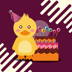 little duck and delicious cake celebration lettering happy birthday vector illustration