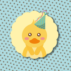 cute duck party hat decoration label happy birthday vector illustration