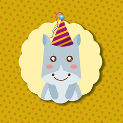 cute hippo party hat decoration label happy birthday vector illustration