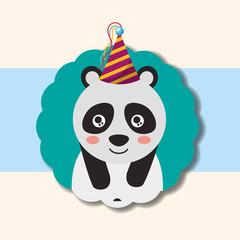 cute panda party hat decoration label happy birthday vector illustration
