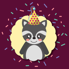 cute raccoon party hat decoration label happy birthday vector illustration