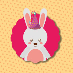 cute bunny party hat decoration label happy birthday vector illustration