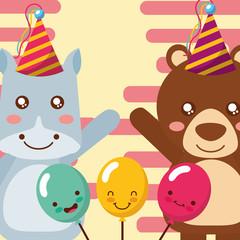 cute hippo and bear animals funny celebration balloons happy birthday vector illustration
