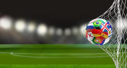 soccer goal with flag of russia soccer ball 3d rendering in soccer net
