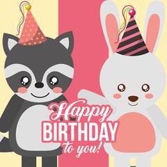 cute raccoon and rabbit animals funny celebration happy birthday vector illustration