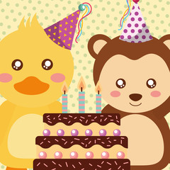 cute duck and monkey animals funny celebration happy birthday vector illustration